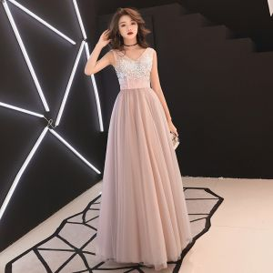 Elegant Pearl Pink Evening Dresses  2019 A-Line / Princess V-Neck Sequins Sleeveless Backless Floor-Length / Long Formal Dresses