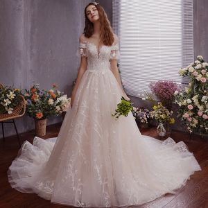 Chic / Beautiful Ivory See-through Wedding Dresses 2019 A-Line / Princess Scoop Neck Short Sleeve Backless Appliques Lace Court Train Ruffle