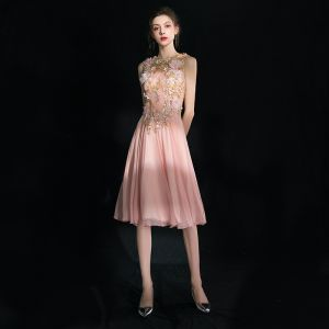 Flower Fairy Pearl Pink Short Graduation Dresses 2018 A-Line / Princess U-Neck Tulle Appliques Backless Beading Rhinestone Homecoming Formal Dresses