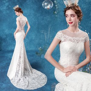 Elegant Ivory Lace Wedding Dresses 2020 Trumpet / Mermaid Scoop Neck Lace Flower Cap Sleeves Backless Sweep Train
