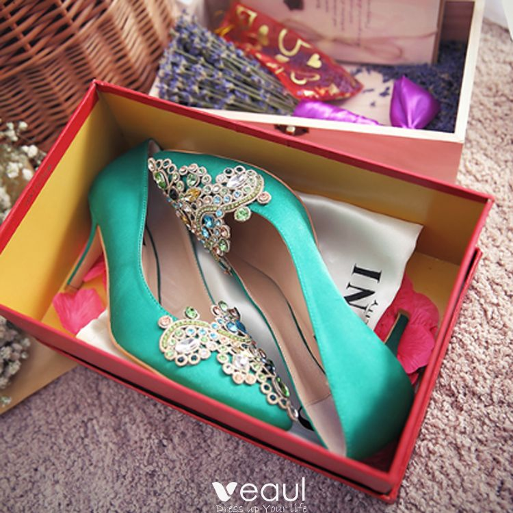 Luxury / Gorgeous 2017 7 cm Green Casual Evening Party PU Summer Crystal Rhinestone High Heels Stiletto Heels Pumps