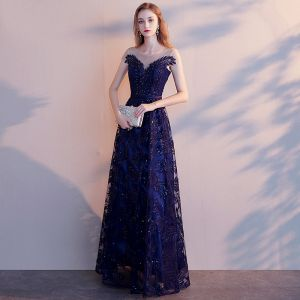 Chic / Beautiful Navy Blue Evening Dresses  2019 A-Line / Princess Scoop Neck Beading Sequins Lace Flower Sash Short Sleeve Backless Floor-Length / Long Formal Dresses