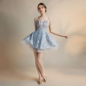 Sexy Sky Blue See-through Party Dresses 2018 A-Line / Princess Sleeveless Spaghetti Straps Beading Printing Flower Glitter Tulle Short Ruffle Backless Formal Dresses