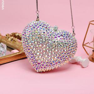 Glitter Multi-Kleuren Hartvormig Rhinestone Handtassen 2019