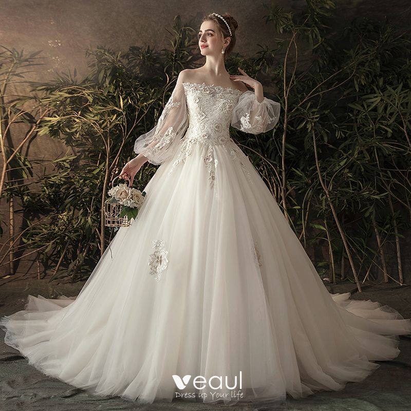 Elegant Ivory See-through Wedding Dresses 2019 Princess