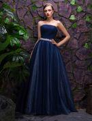 2016 Schöne Strapless Royal Blue Glitter Organza Maxi Abendkleider