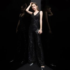 Sparkly Black Sequins Jumpsuit 2020 V-Neck Sleeveless Floor-Length / Long Ruffle Backless Evening Dresses