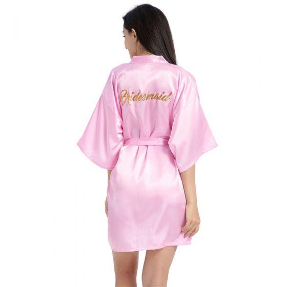 Modest / Simple Candy Pink Wedding Bridesmaid V-Neck 3/4 Sleeve Silk Robes 2020 Sash Glitter Printing