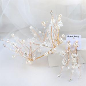 Mooie / Prachtige Goud Tiara Oorbellen Bruidssieraden 2020 Legering Parel Rhinestone Zijden Bloem Huwelijk Accessoires