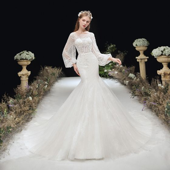 Victorian Style Ivory Bridal Wedding Dresses 2020 Trumpet / Mermaid See-through Scoop Neck Puffy Long Sleeve Backless Appliques Flower Glitter Tulle Chapel Train Ruffle