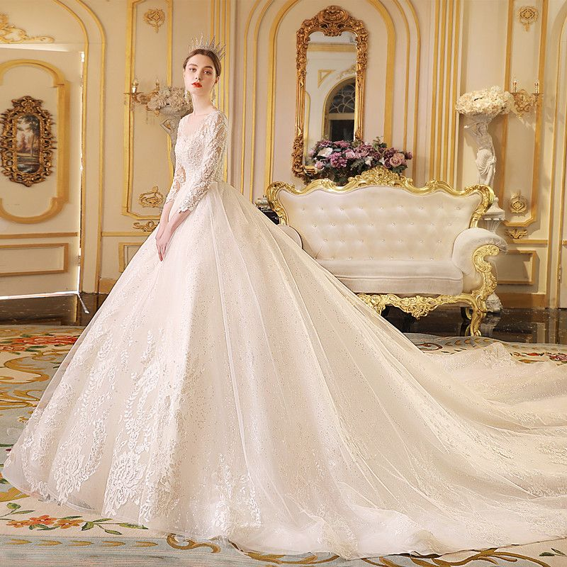 Classic Ivory See-through Wedding Dresses 2019 Ball Gown Scoop Neck 3/4 Sleeve Backless Appliques Lace Glitter Tulle Cathedral Train Ruffle