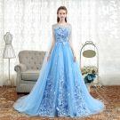 Elegant Sky Blue Prom Dresses 2018 A-Line / Princess Appliques Scoop Neck Backless Sleeveless Watteau Train Formal Dresses