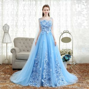 Elegant Sky Blue Prom Dresses 2018 A-Line / Princess Appliques Scoop Neck Backless Sleeveless Watteau Train Formal Dresses
