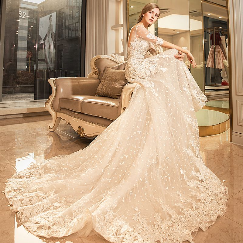 Chic / Beautiful Hall Wedding Dresses 2017 White Trumpet / Mermaid Cathedral Train Scoop Neck 1/2 Sleeves Backless Lace Appliques Rhinestone Sequins