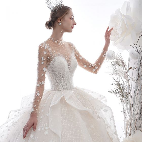 Stunning Ivory See-through Star Wedding Dresses 2020 Ball Gown High Neck Long Sleeve Backless Glitter Tulle Handmade  Beading Cathedral Train Ruffle