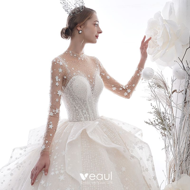 Stunning Ivory See Through Star Wedding Dresses 2020 Ball Gown High Neck Long Sleeve Backless Glitter Tulle Handmade Beading Cathedral Train Ruffle
