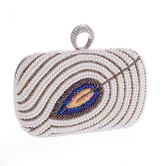 Luxury / Gorgeous Ivory Beading Pearl Rhinestone Metal Clutch Bags 2018