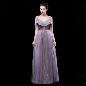 Chic / Beautiful Purple Evening Dresses  2019 A-Line / Princess Spaghetti Straps Glitter Polyester Short Sleeve Backless Floor-Length / Long Formal Dresses