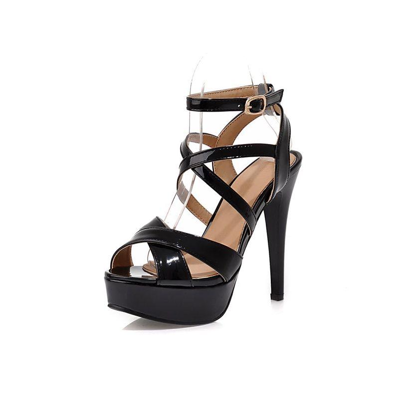 Mode Sorte Sandaler Platform Patent læder Høj Hæl Womens Sko