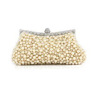 Douce Retro Sac D'embrayage De Diner Perles A La Main Embrayage Sac Chaine Petit Sac Pochettes