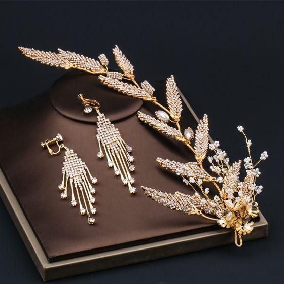 Elegant Gold Bridal Jewelry 2020 Alloy Beading Rhinestone Earrings Headpieces Bridal Hair Accessories