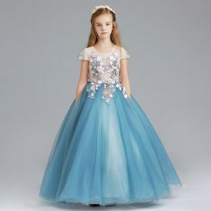Chic / Beautiful Ocean Blue Flower Girl Dresses 2017 Ball Gown Scoop Neck Cap Sleeves Appliques Flower Floor-Length / Long Ruffle Wedding Party Dresses