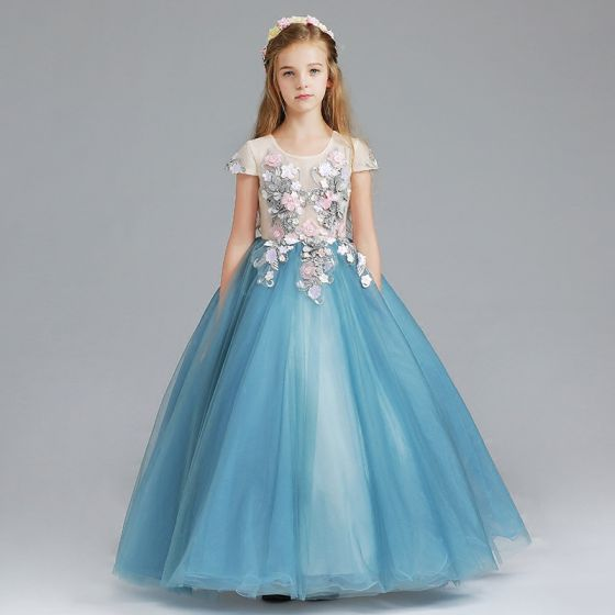 Chic / Beautiful Ocean Blue Flower Girl Dresses 2017 Ball Gown Scoop Neck Cap Sleeves Appliques Flower Floor-Length / Long Ruffle Wedding Party Dresses