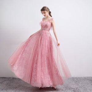Mode Godis Rosa Balklänningar 2021 Prinsessa Genomskinliga V-Hals Ärmlös Appliqués Paljetter Beading Långa Ruffle Halterneck Formella Klänningar