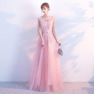 Romantique Rose Bonbon Robe De Soirée 2018 Princesse En Dentelle Fleur Appliques Faux Diamant Encolure Dégagée Longue Sans Manches Dos Nu Robe De Ceremonie