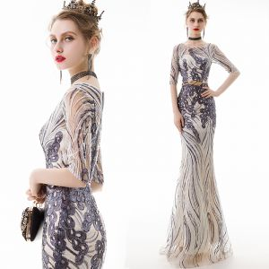 Piękne Szampan Sukienki Wieczorowe 2020 Syrena / Rozkloszowane Przezroczyste Wycięciem 1/2 Rękawy Cekiny Aplikacje Z Koronki Metal Szarfa Długie Wzburzyć Sukienki Wizytowe
