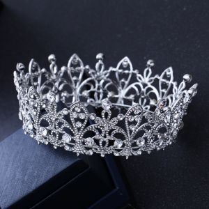 Luxury / Gorgeous Silver Rhinestone Tiara 2018 Metal Accessories