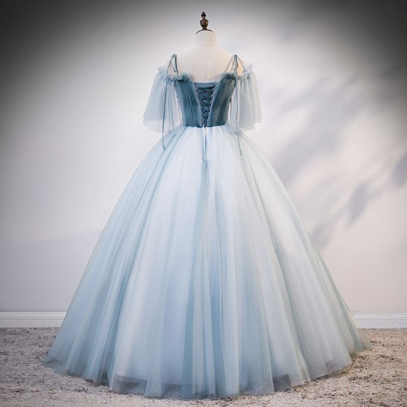 Chic / Beautiful Sky Blue Prom Dresses 2020 Ball Gown Off-The-Shoulder Spaghetti Straps 1/2 Sleeves Appliques Lace Beading Floor-Length / Long Ruffle Backless Formal Dresses