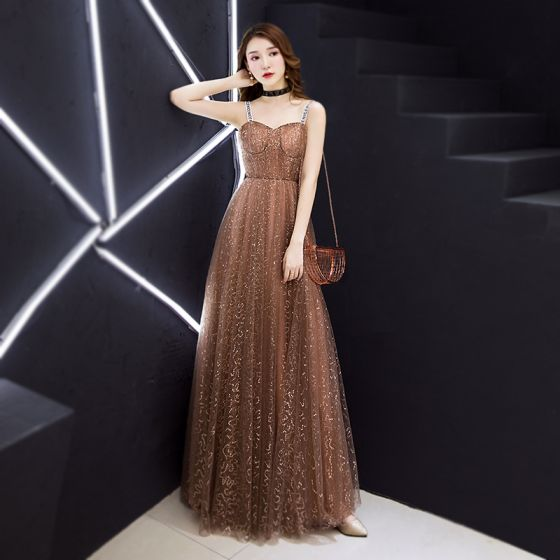 Modern / Fashion Champagne Evening Dresses  2019 A-Line / Princess Sleeveless Shoulders Glitter Sequins Floor-Length / Long Ruffle Backless Formal Dresses