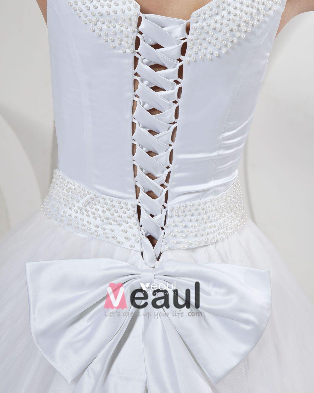 Satin Bow Sash Pearl Off Shoudler Watteau A Line Bridal Gown Wedding Dress