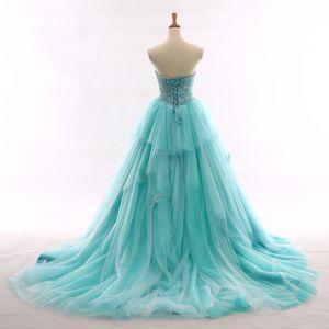 Chic / Belle Bleu Robe De Bal 2017 Amoureux Dos Nu Sans Manches Perlage Volants Tulle Robe De Ceremonie Chapel Train