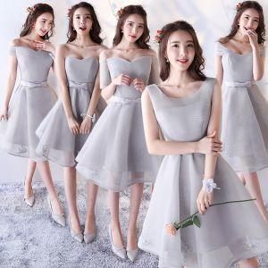 Chic / Beautiful Silver Bridesmaid Dresses 2017 A-Line / Princess Bow Backless Short Bridesmaid Wedding Party Dresses
