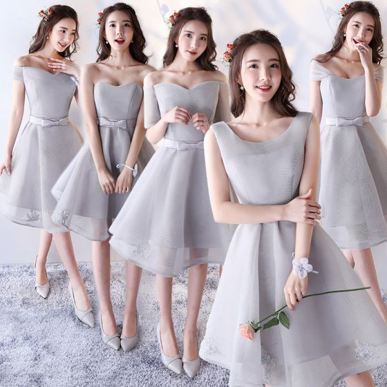 Chic Beautiful Silver Bridesmaid Dresses 2017 A Line Princess Bow Backless Short Wedding Party
