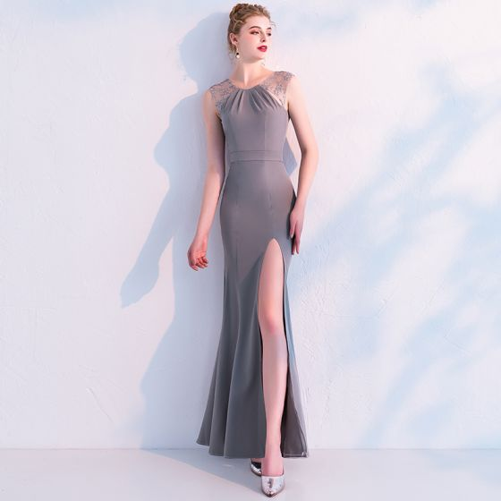 Modest / Simple Grey Evening Dresses  2019 Trumpet / Mermaid Lace Scoop Neck Sleeveless Backless Bow Split Front Ankle Length Formal Dresses