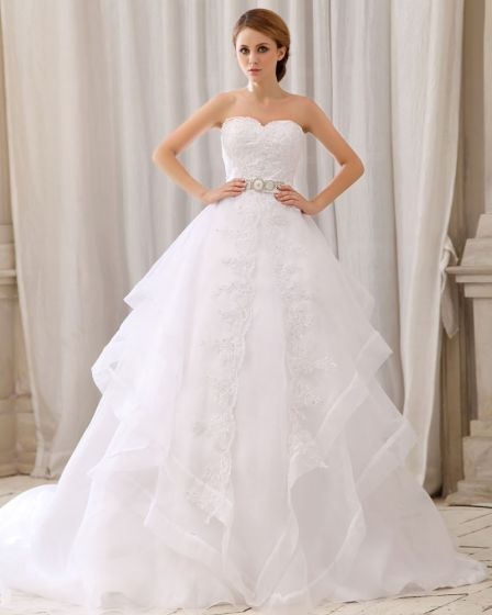 Elegant Solid Layered Waist Rhinestone Strapless Back Zipper Bow Court Train Organza Lace Ball Gown Wedding Dress