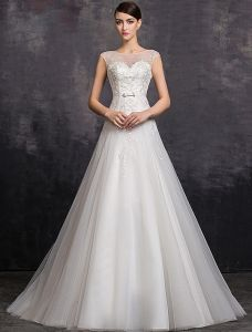 Elegant A-line Square Neckline Beading Sequins Organza Wedding Dress