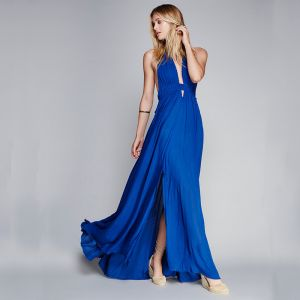 Sexy Bleu Roi Robes longues 2018 Titulaire Sans Manches Longue Volants Dos Nu Vêtements Femme