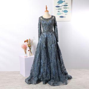 Vintage / Retro Luxury / Gorgeous Navy Blue Handmade  Beading Evening Dresses  2020 A-Line / Princess Scoop Neck Crystal Rhinestone Lace Flower Long Sleeve Backless Sweep Train Formal Dresses