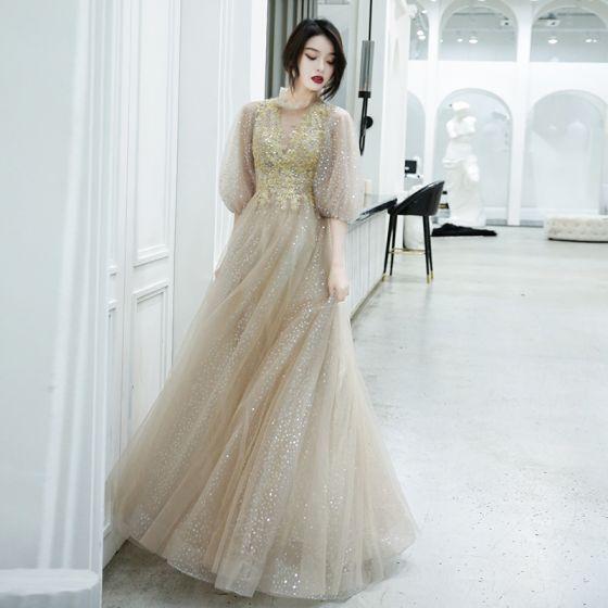 Glittrande Charmig Champagne Aftonklänningar 2020 Prinsessa Urringning Beading Paljetter Spets Blomma 1/2 ärm Halterneck Långa Formella Klänningar