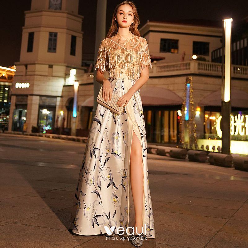fd2da966c526 Eleganta Guld Aftonklänningar 2019 Prinsessa Urringning Beading Paljetter  Tassel Korta ärm Slits Fram Utskrift Långa Formella Klänningar
