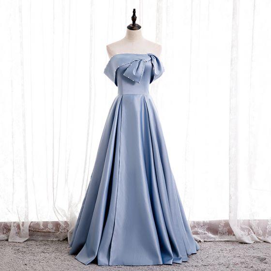 Modest / Simple Sky Blue Satin Dancing Prom Dresses 2020 A-Line / Princess Strapless Sleeveless Beading Pearl Floor-Length / Long Ruffle Backless Formal Dresses