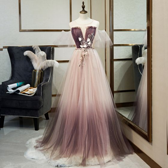 Charming Gradient-Color Purple Evening Dresses  2019 A-Line / Princess Scoop Neck Beading Appliques Crystal Sequins Short Sleeve Backless Floor-Length / Long Formal Dresses