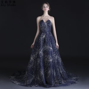 Bling Bling Navy Blue Prom Dresses 2018 A-Line / Princess Sweetheart Sleeveless Beading Rhinestone Chapel Train Ruffle Backless Formal Dresses