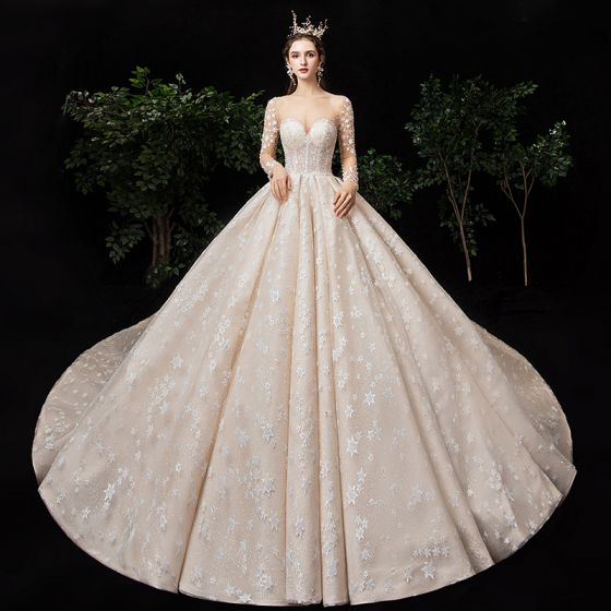 Fabulous Champagne See-through Star Wedding Dresses 2020 Ball Gown Square Neckline Long Sleeve Backless Glitter Tulle Handmade  Beading Cathedral Train Ruffle