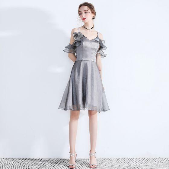 77eccaef8b7 Modern   Fashion Grey Homecoming Graduation Dresses 2019 A-Line   Princess  Spaghetti Straps Sleeveless Glitter Organza Short ...
