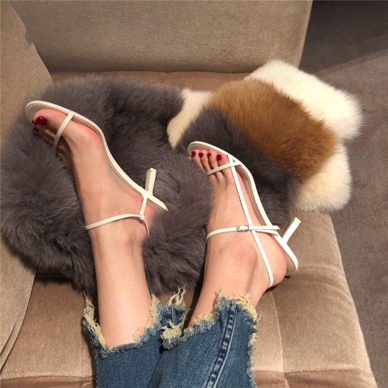 Modern / Fashion Modest / Simple Yellow Casual Womens Sandals 2019 Ankle Strap 6 cm Stiletto Heels Open / Peep Toe Sandals